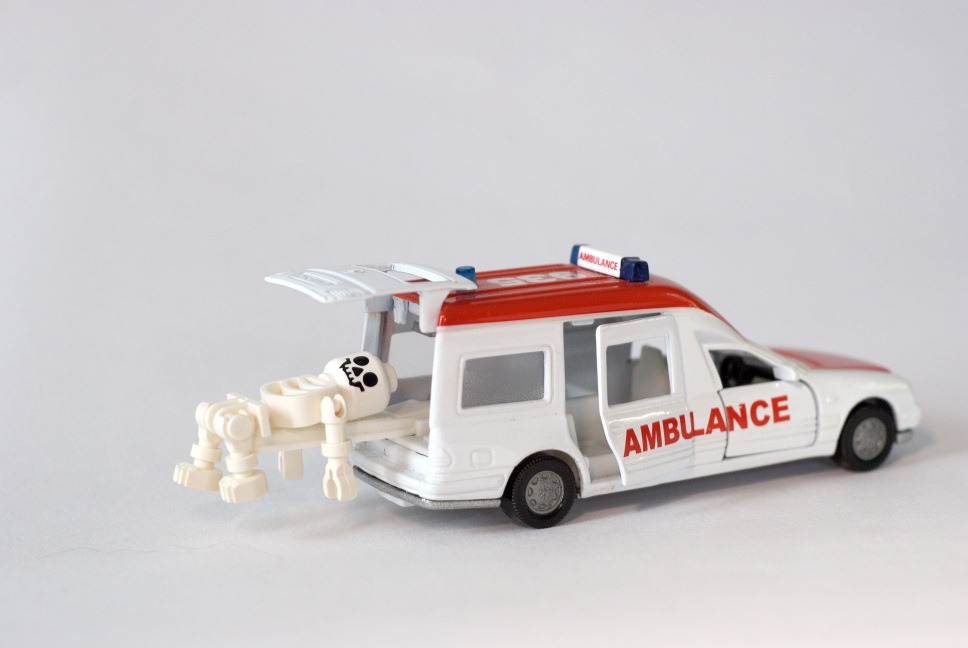 Toy ambulance with skeleton