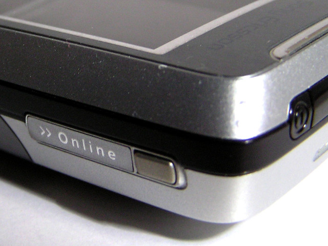 A laptop edge with the word Online