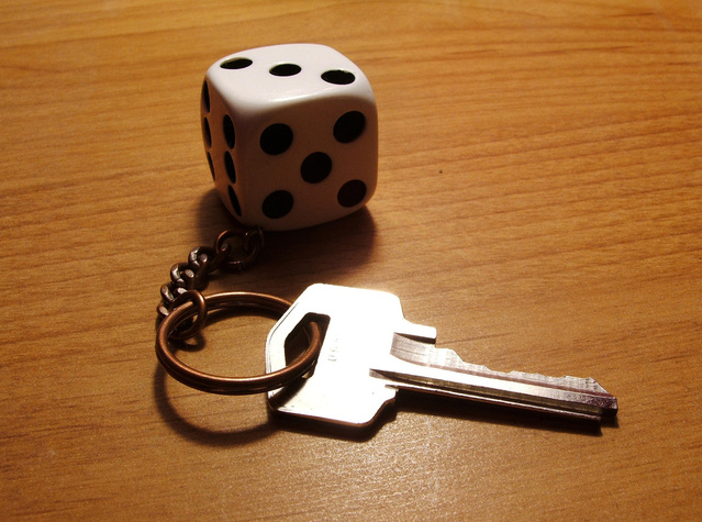 Dice Keychain with Key
